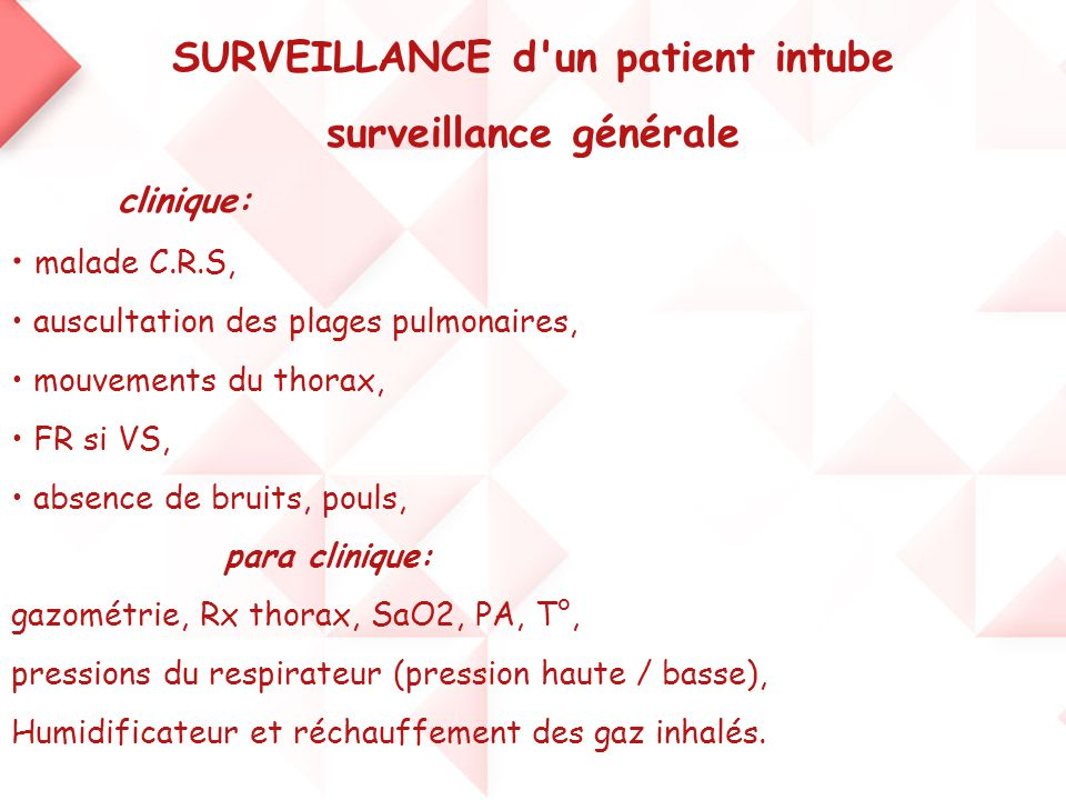 SURVEILLANCE d un patient intube surveillance générale