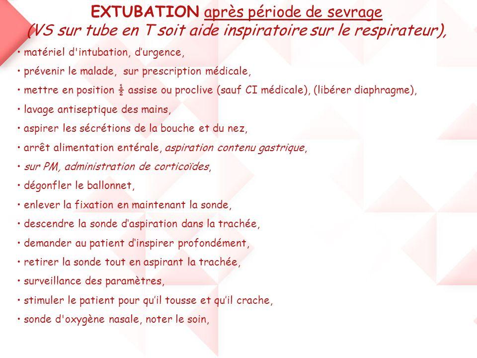 EXTUBATION après période de sevrage (VS sur tube en T soit aide inspiratoire sur le respirateur),