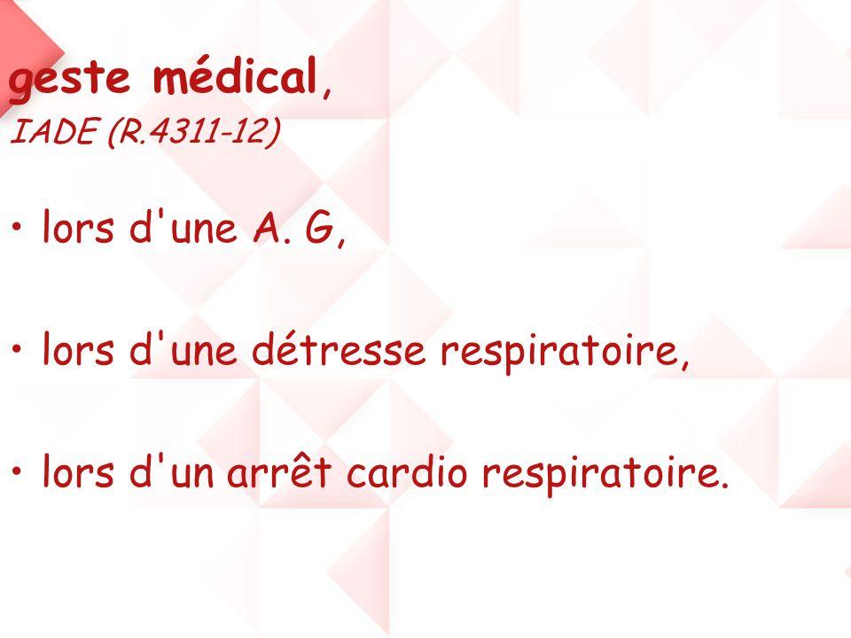 geste médical, lors d une A. G, lors d une détresse respiratoire,