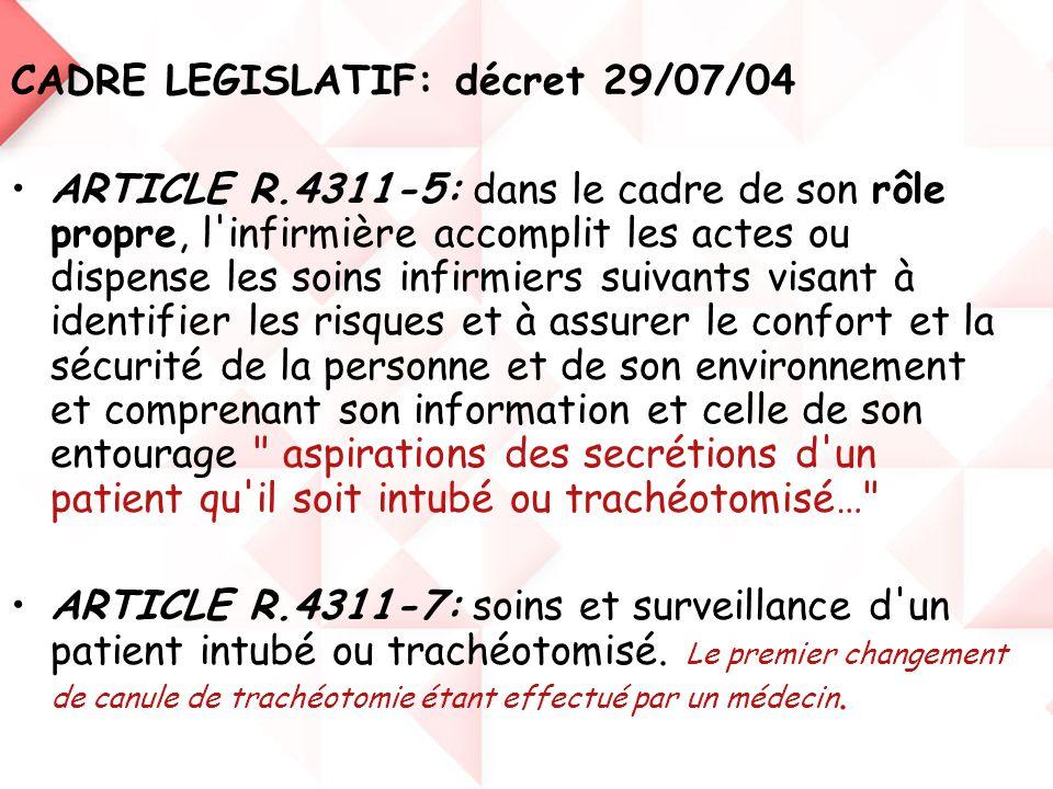 CADRE LEGISLATIF: décret 29/07/04
