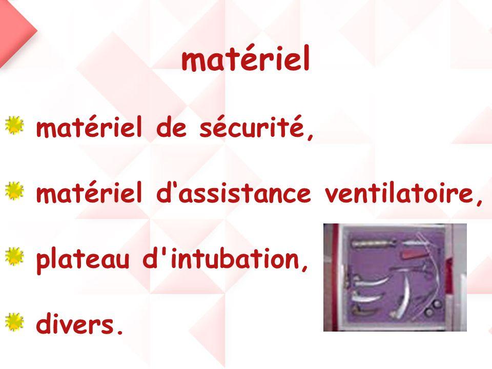 matériel matériel de sécurité, matériel d'assistance ventilatoire,