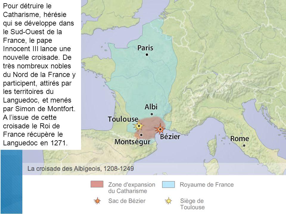 Pour détruire le Catharisme, hérésie qui se développe dans le Sud-Ouest de la France, le pape Innocent III lance une nouvelle croisade.