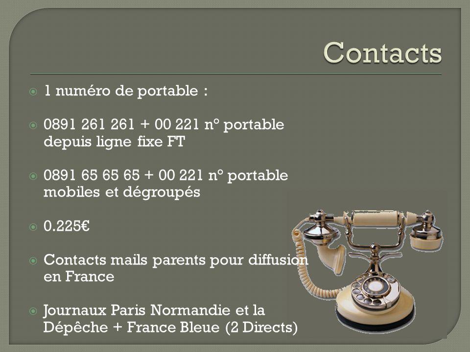 Contacts 1 numéro de portable :