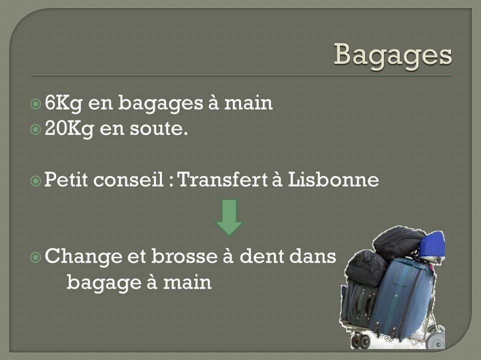 Bagages 6Kg en bagages à main 20Kg en soute.
