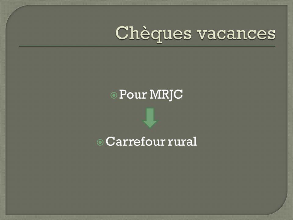 Chèques vacances Pour MRJC Carrefour rural