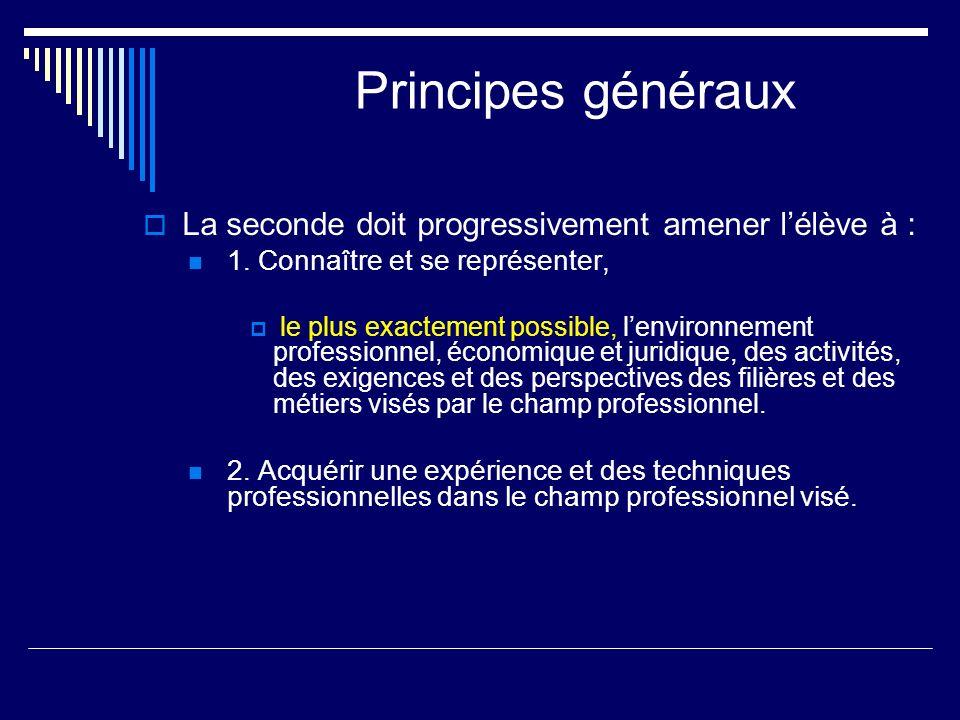 Principes généraux La seconde doit progressivement amener l'élève à :