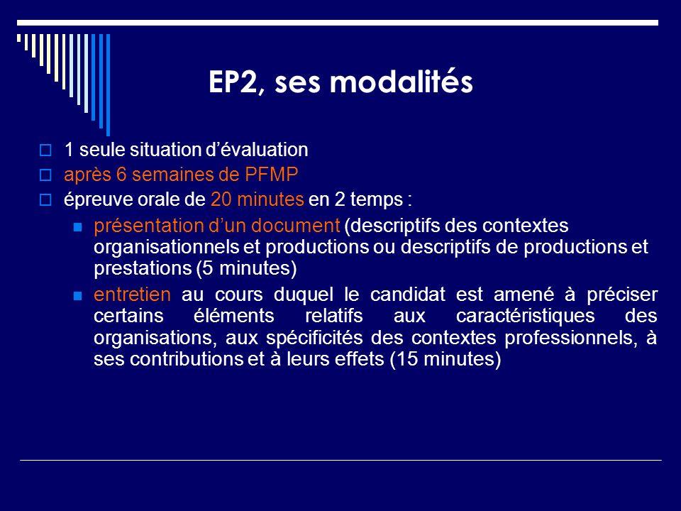 EP2, ses modalités 1 seule situation d'évaluation. après 6 semaines de PFMP. épreuve orale de 20 minutes en 2 temps :