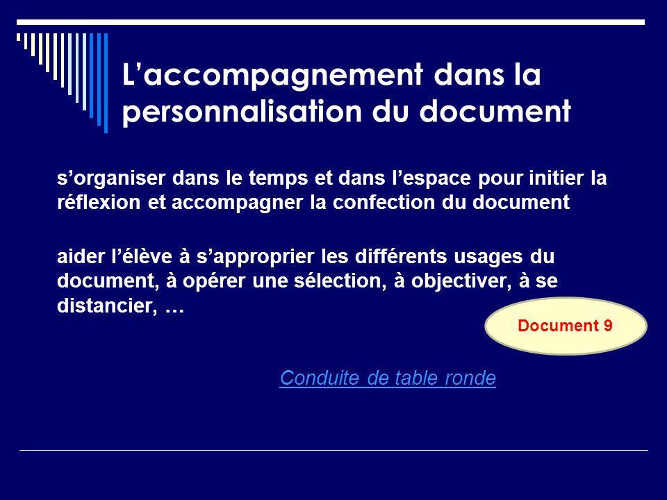 L'accompagnement dans la personnalisation du document