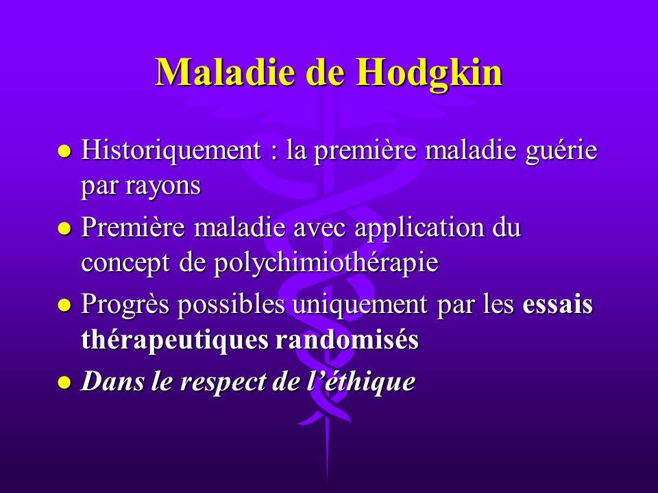 Maladie de Hodgkin Historiquement : la première maladie guérie par rayons. Première maladie avec application du concept de polychimiothérapie.