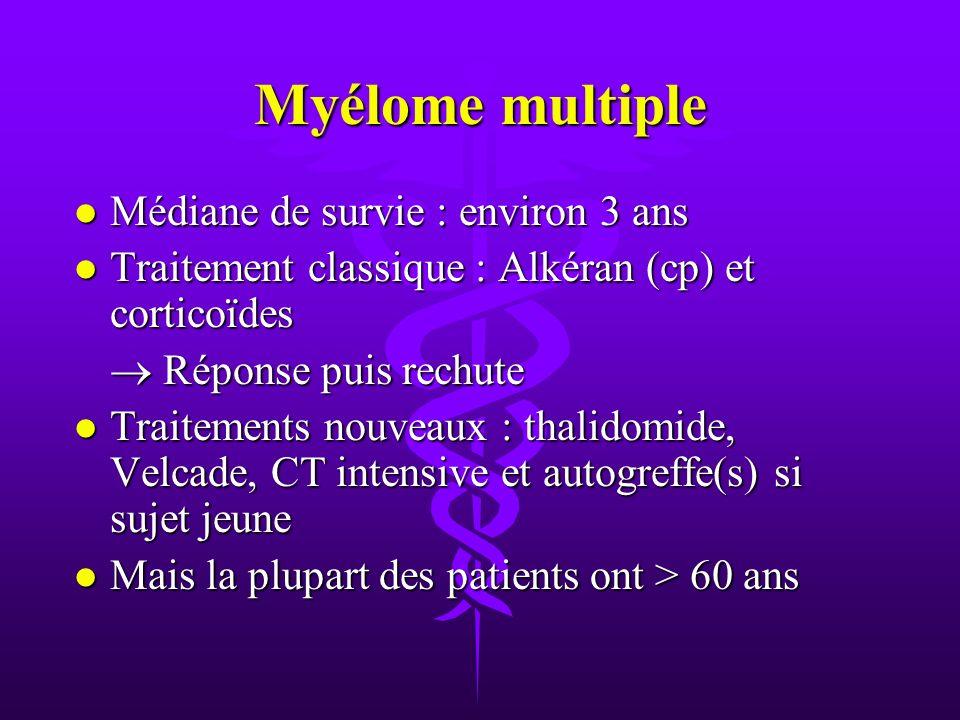 Myélome multiple Médiane de survie : environ 3 ans