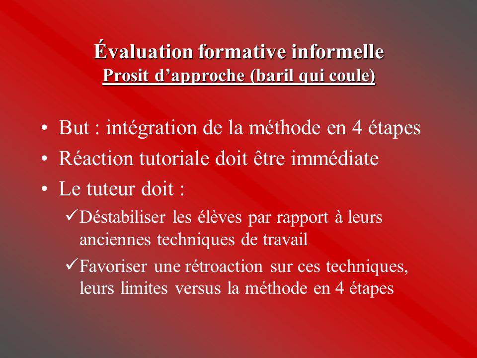 Évaluation formative informelle Prosit d'approche (baril qui coule)
