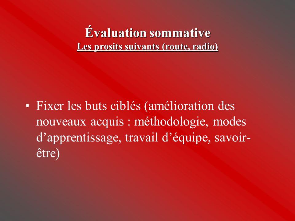 Évaluation sommative Les prosits suivants (route, radio)