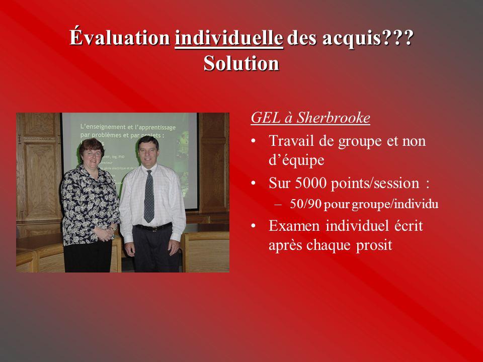 Évaluation individuelle des acquis Solution