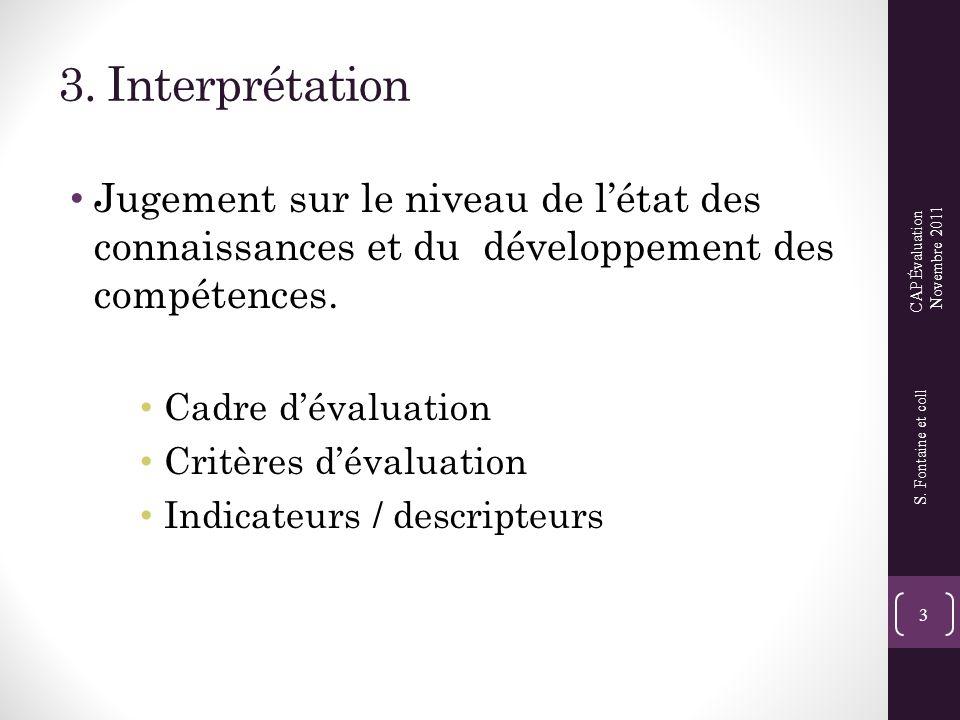 3. Interprétation Jugement sur le niveau de l'état des connaissances et du développement des compétences.