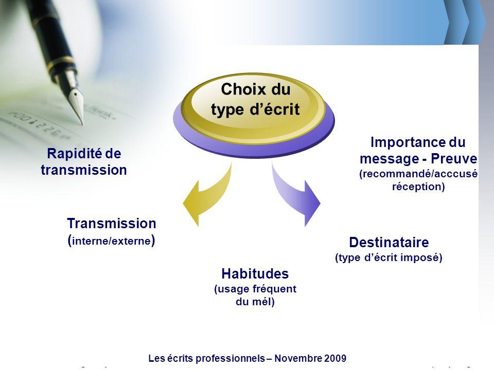 Choix du type d'écritImportance du message - Preuve (recommandé/acccusé réception) Rapidité de transmission.