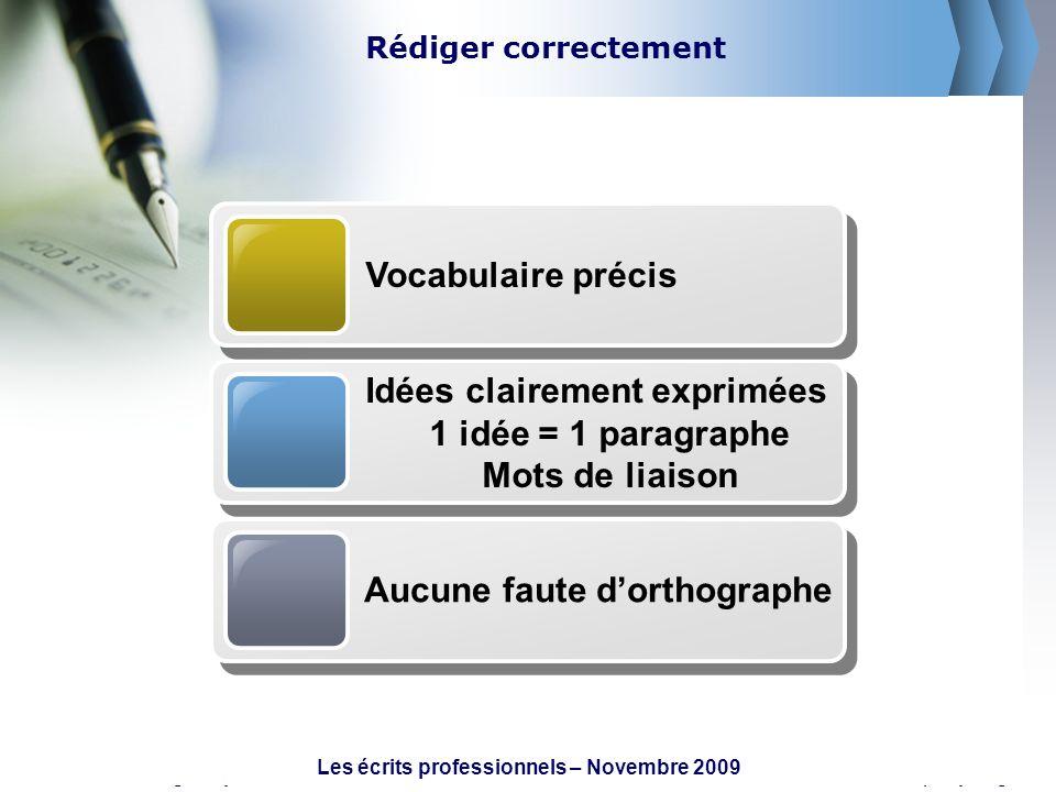 Les écrits professionnels – Novembre 2009