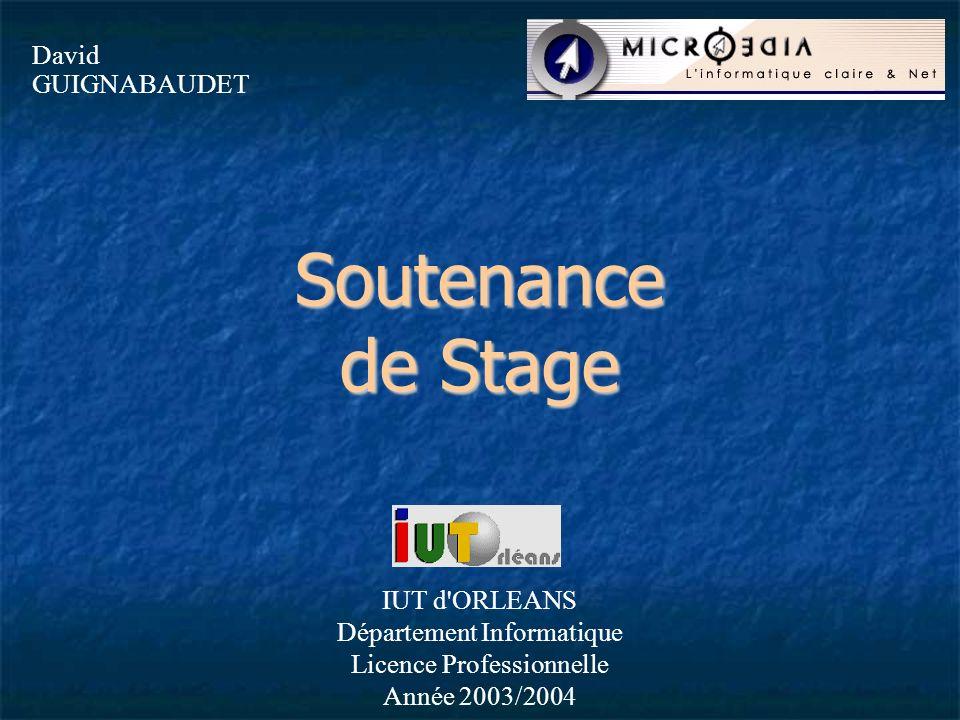 Soutenance de Stage David GUIGNABAUDET IUT d ORLEANS