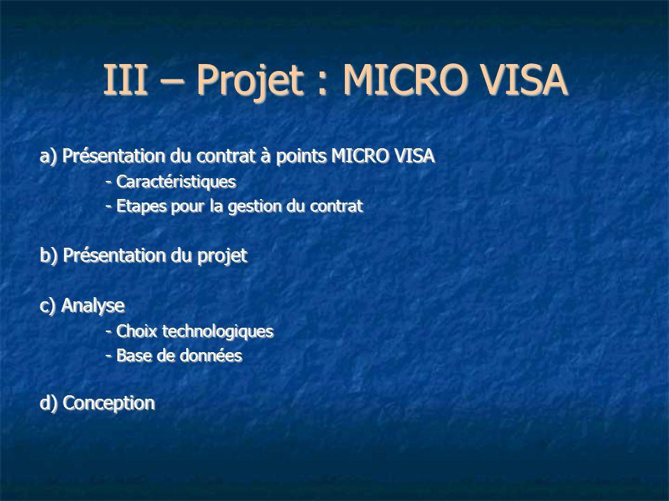 III – Projet : MICRO VISA