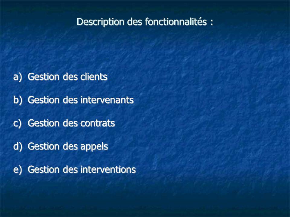 Description des fonctionnalités :