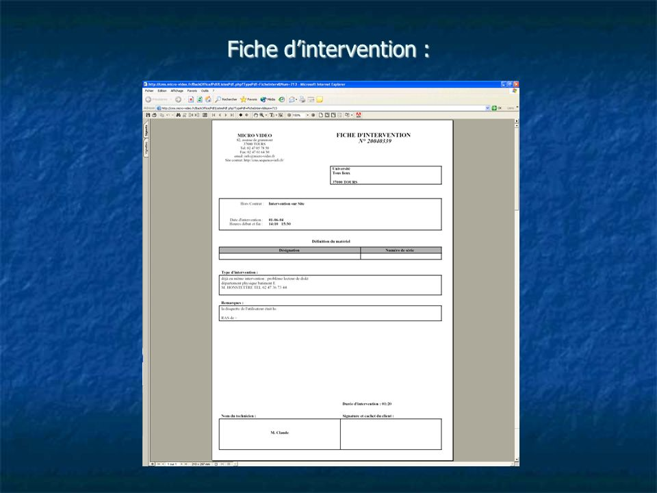 Fiche d'intervention :