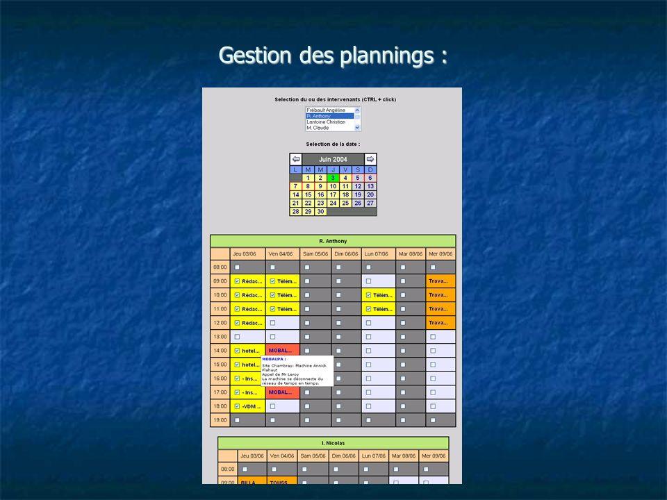 Gestion des plannings :