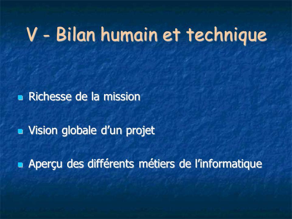 V - Bilan humain et technique