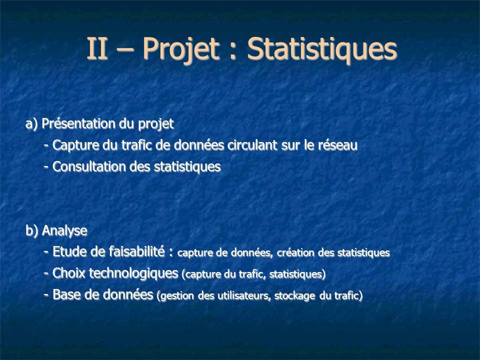 II – Projet : Statistiques