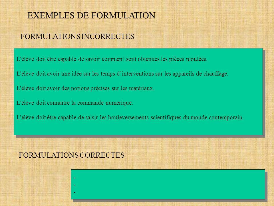 EXEMPLES DE FORMULATION