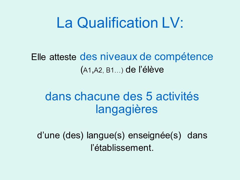 La Qualification LV: dans chacune des 5 activités langagières