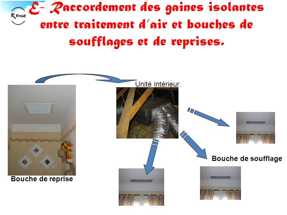 E- Raccordement des gaines isolantes entre traitement d'air et bouches de soufflages et de reprises.