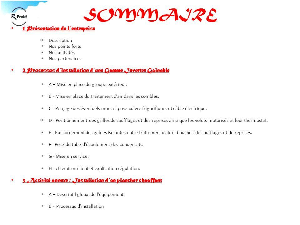 SOMMAIRE 1 Présentation de l'entreprise