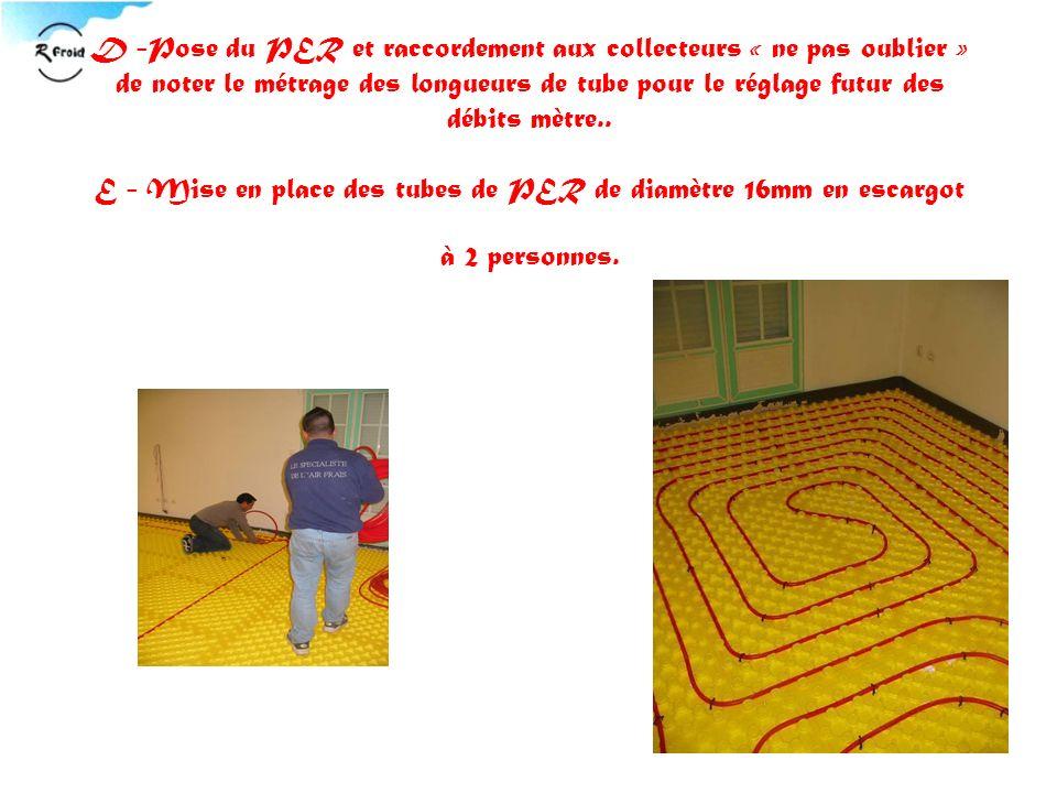 D -Pose du PER et raccordement aux collecteurs « ne pas oublier » de noter le métrage des longueurs de tube pour le réglage futur des débits mètre..