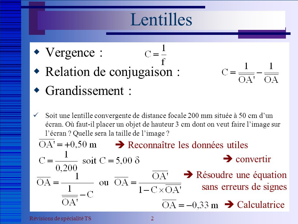 Lentilles Vergence : Relation de conjugaison : Grandissement :