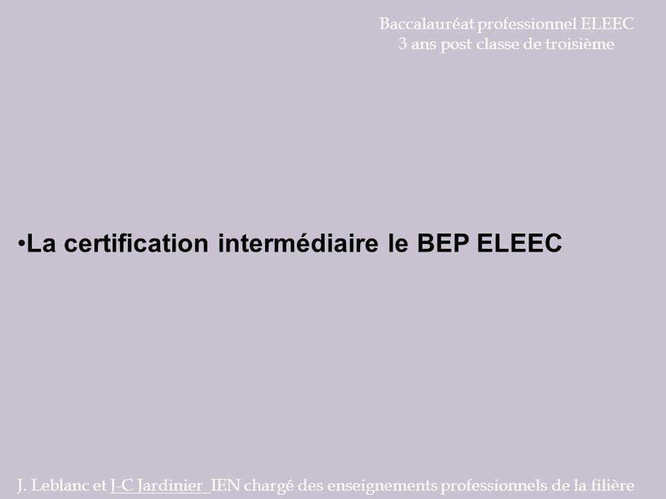 La certification intermédiaire le BEP ELEEC