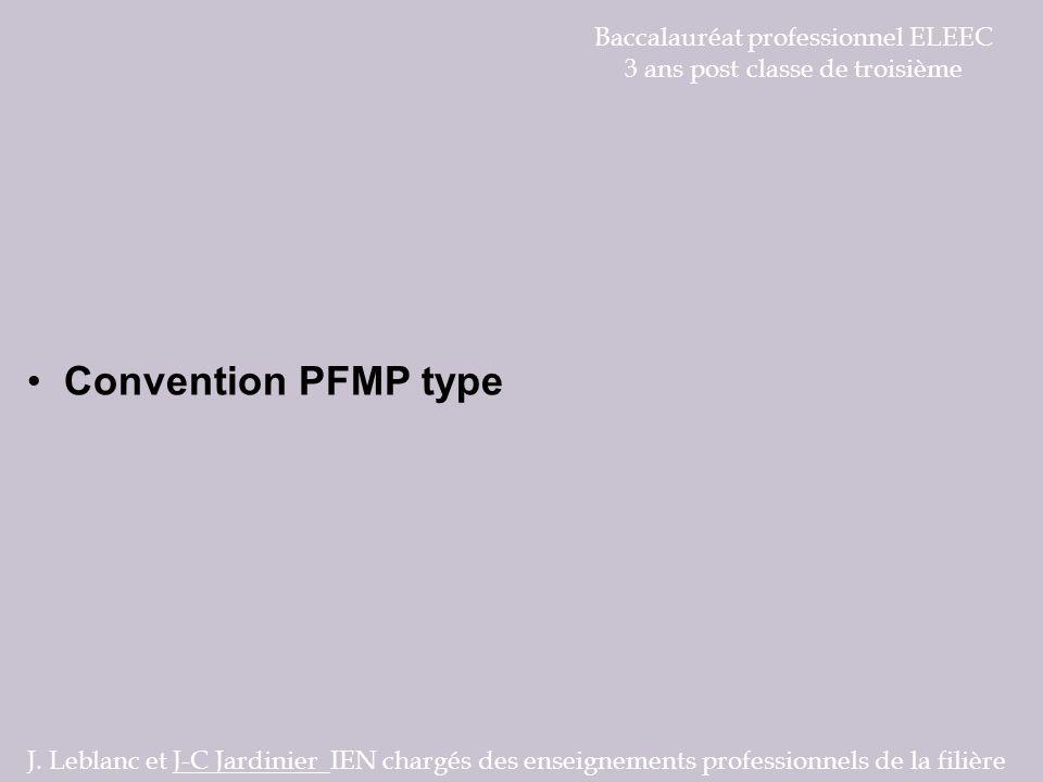 Convention PFMP type Baccalauréat professionnel ELEEC