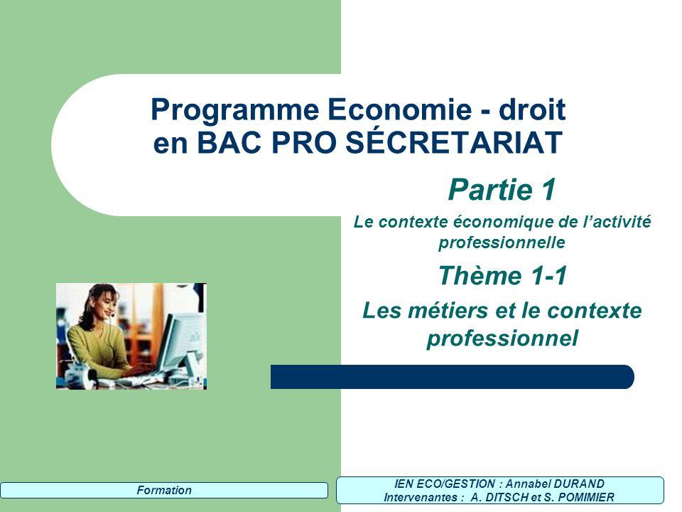 Programme Economie - droit en BAC PRO SÉCRETARIAT
