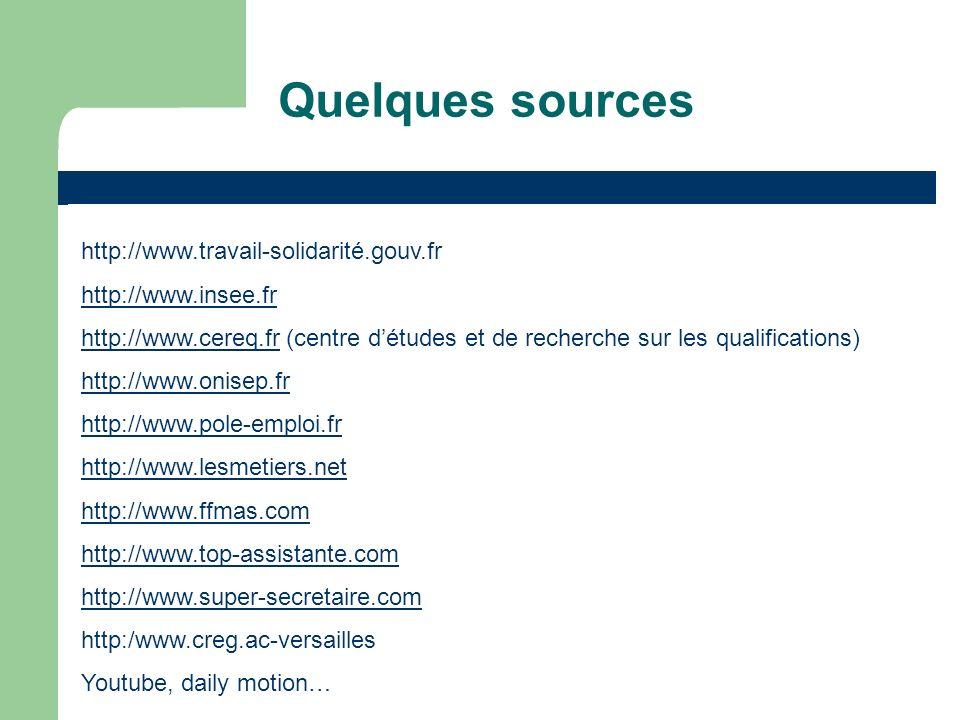 Quelques sources http://www.travail-solidarité.gouv.fr