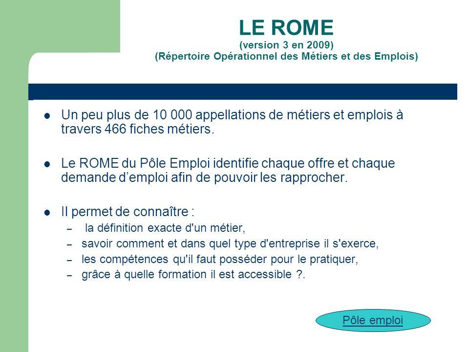 LE ROME (version 3 en 2009) (Répertoire Opérationnel des Métiers et des Emplois)