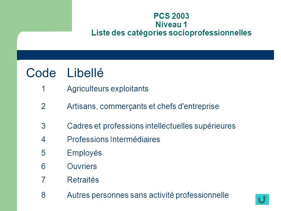 PCS 2003 Niveau 1 Liste des catégories socioprofessionnelles