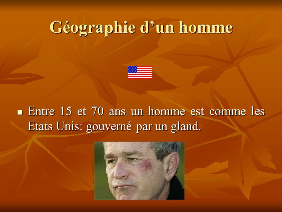 Géographie d'un homme Entre 15 et 70 ans un homme est comme les Etats Unis: gouverné par un gland.