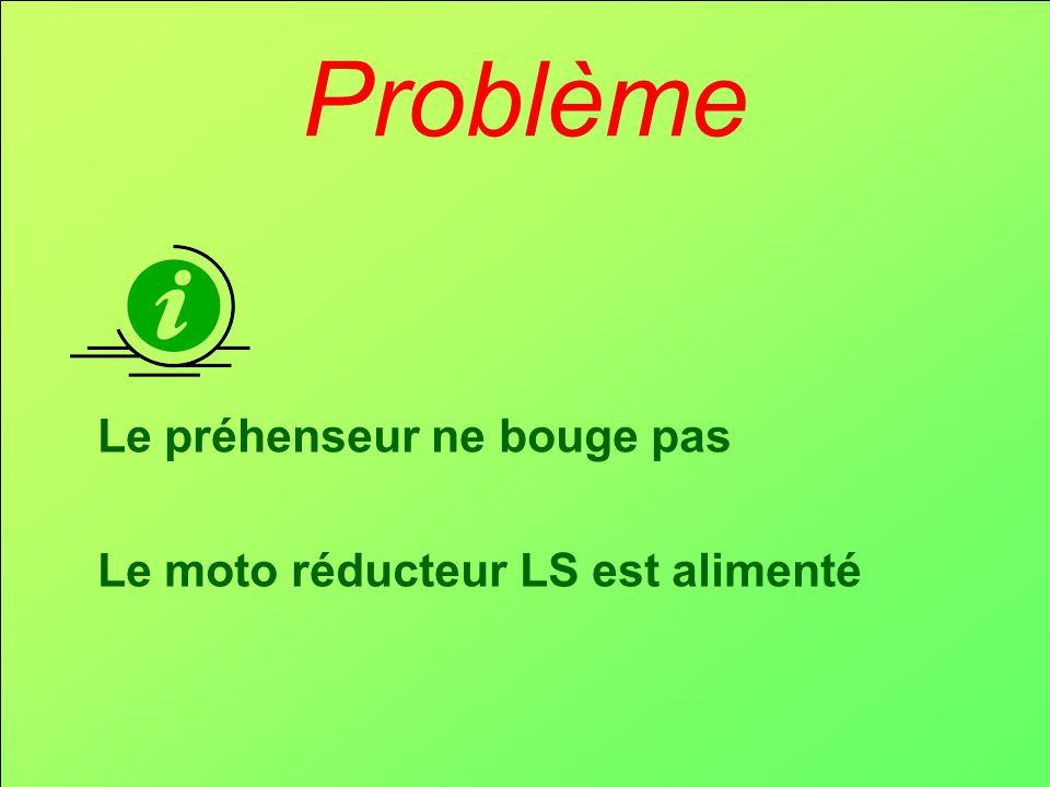 Problème Le préhenseur ne bouge pas Le moto réducteur LS est alimenté