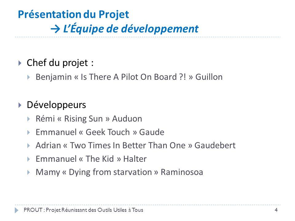 Présentation du Projet → L'Équipe de développement