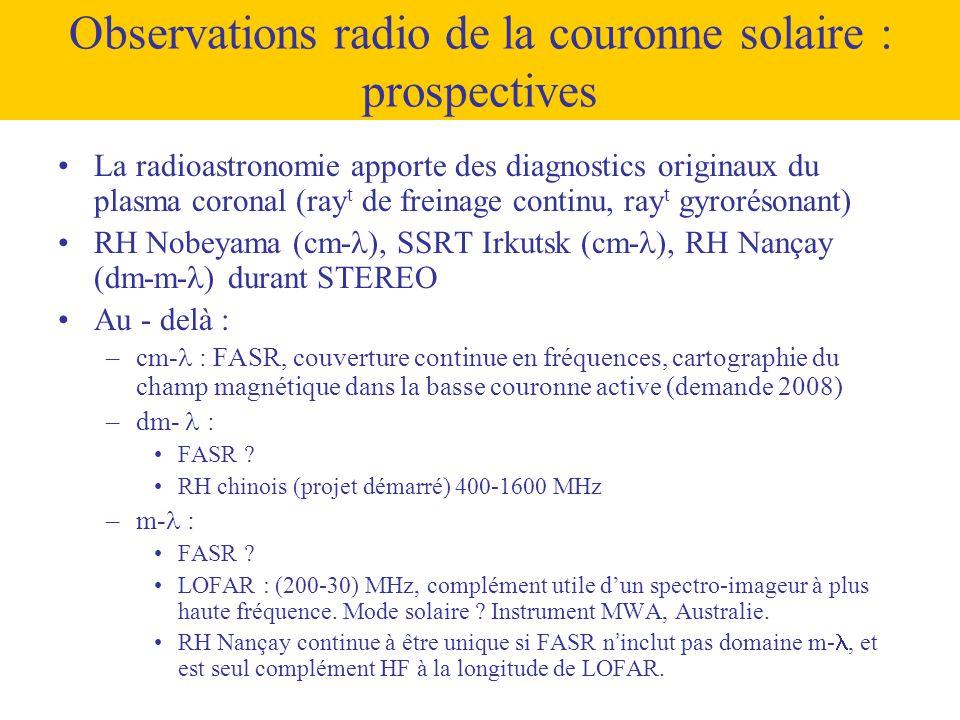 Observations radio de la couronne solaire : prospectives