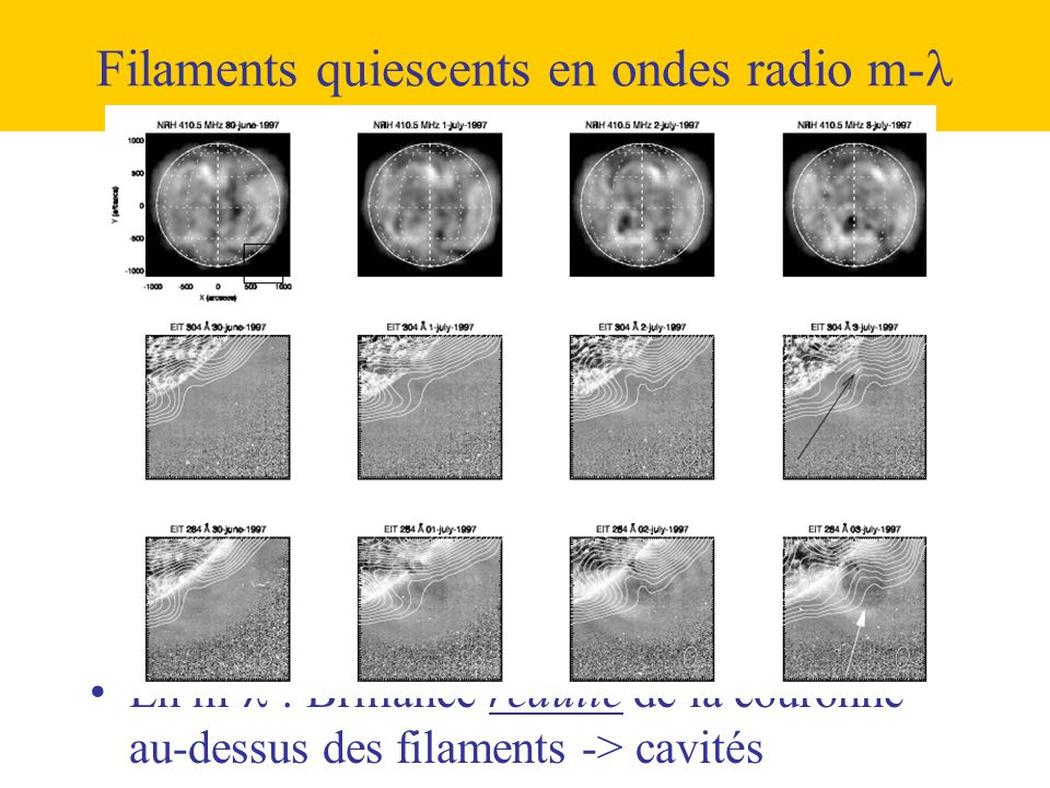 Filaments quiescents en ondes radio m-