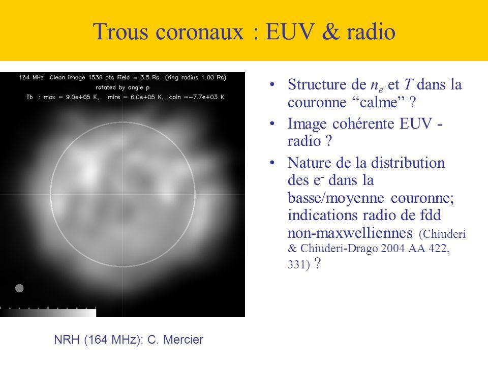 Trous coronaux : EUV & radio