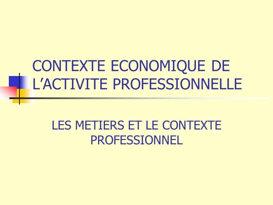 CONTEXTE ECONOMIQUE DE L'ACTIVITE PROFESSIONNELLE