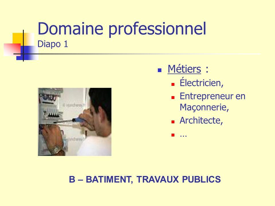 Domaine professionnel Diapo 1