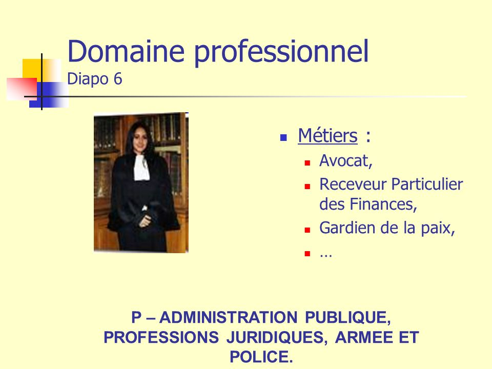 Domaine professionnel Diapo 6