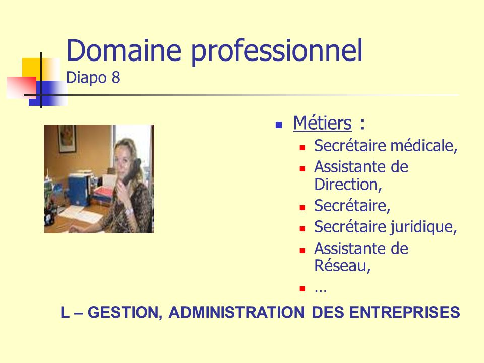 Domaine professionnel Diapo 8