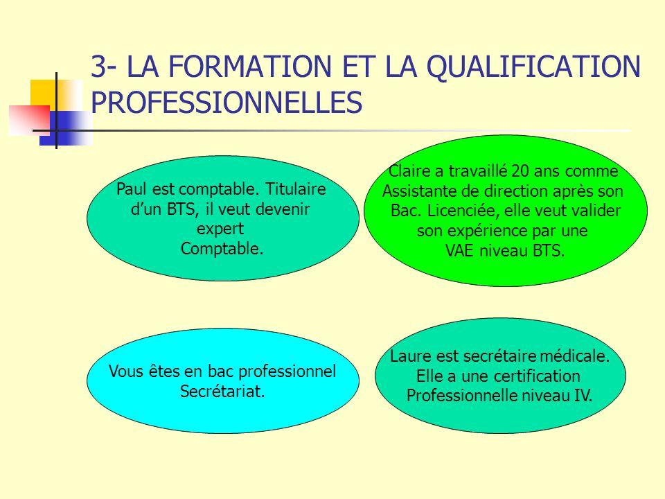 3- LA FORMATION ET LA QUALIFICATION PROFESSIONNELLES